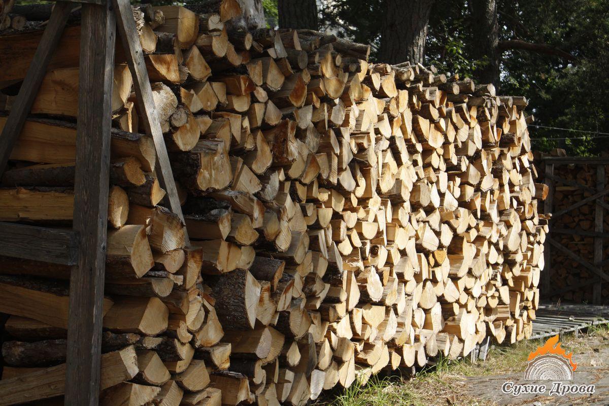 Укладка дров на улице без навеса
